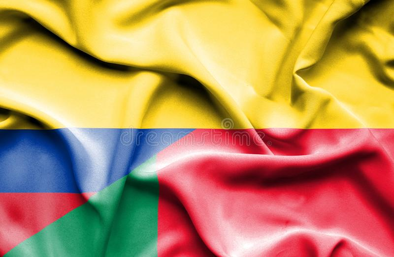 Vinkande flagga av Benin och Columbia vektor illustrationer