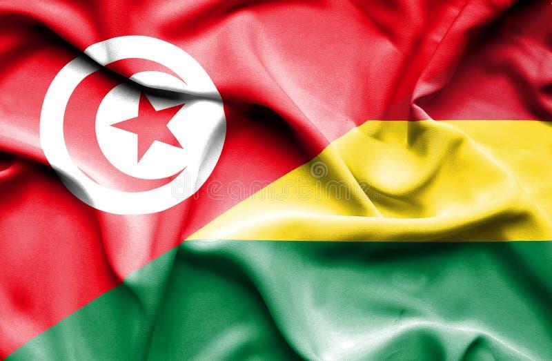 Vinkande flagga av Bolivia och Tunisien stock illustrationer