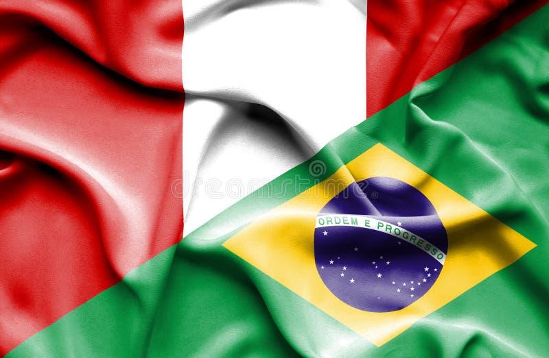 Vinkande flagga av Brasilien och Peru royaltyfri illustrationer