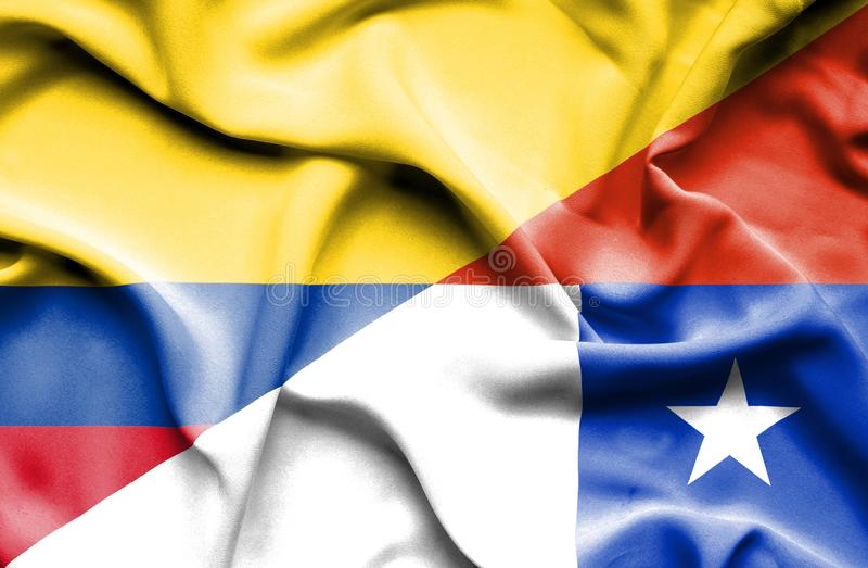 Vinkande flagga av Chile och Columbia royaltyfri illustrationer