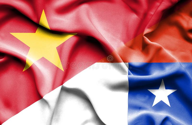 Vinkande flagga av Chile och Vietnam royaltyfri illustrationer