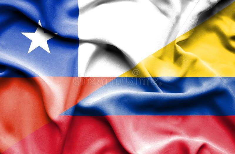 Vinkande flagga av Columbia och Chile royaltyfri illustrationer