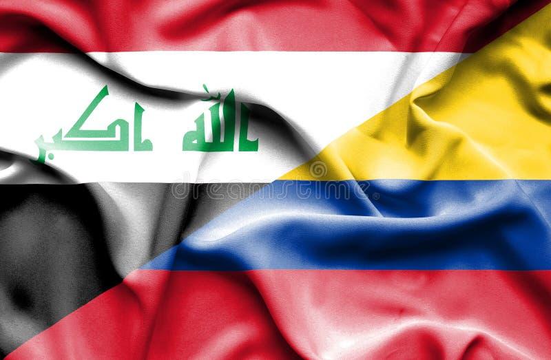 Vinkande flagga av Columbia och Irak royaltyfri illustrationer