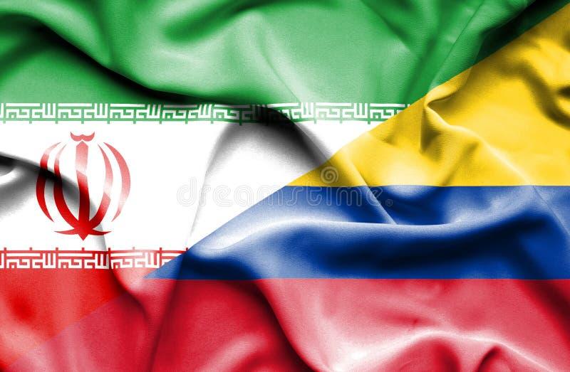 Vinkande flagga av Columbia och Iran royaltyfri illustrationer