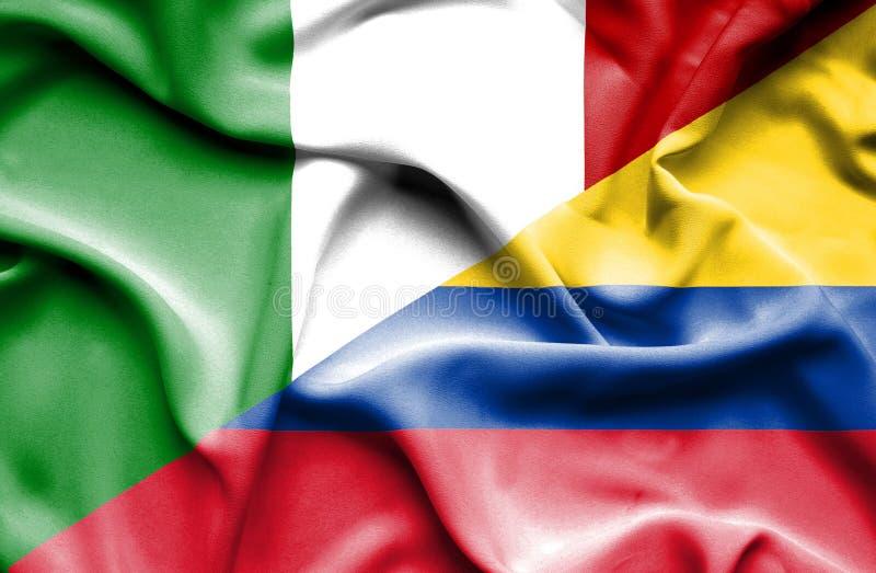 Vinkande flagga av Columbia och Italien royaltyfri illustrationer