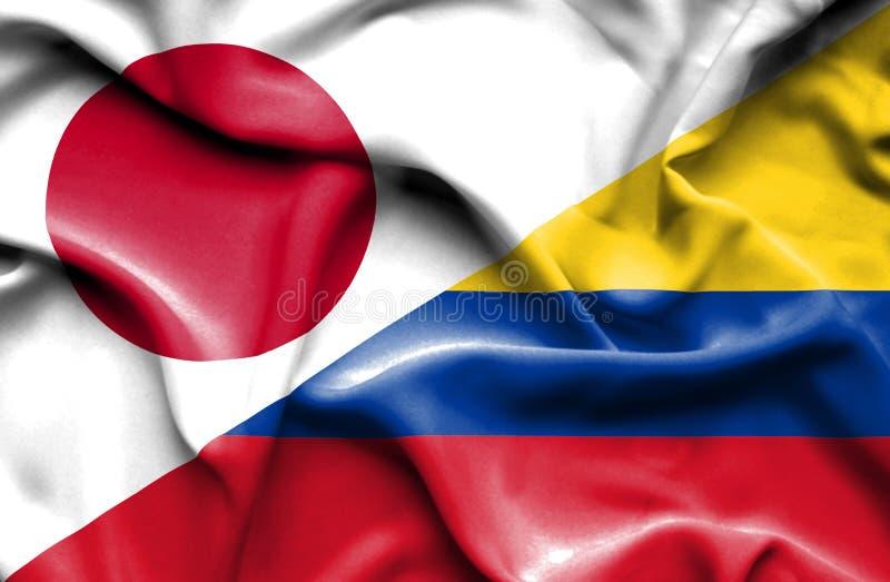 Vinkande flagga av Columbia och Japan royaltyfri illustrationer
