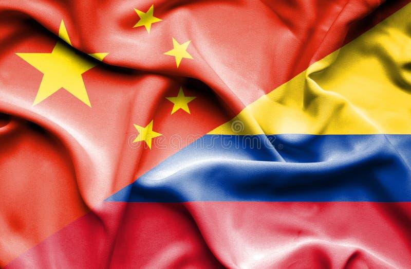 Vinkande flagga av Columbia och Kina royaltyfri illustrationer