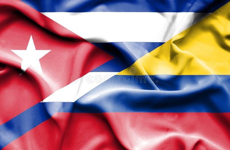 Vinkande flagga av Columbia och Kuban stock illustrationer