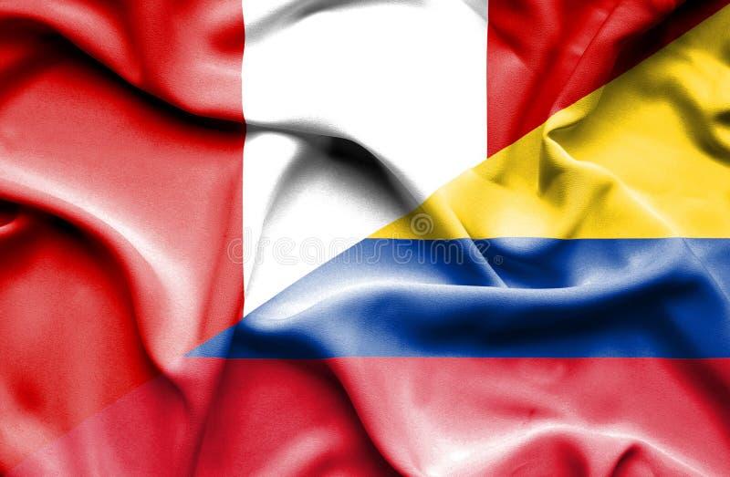 Vinkande flagga av Columbia och Peru vektor illustrationer