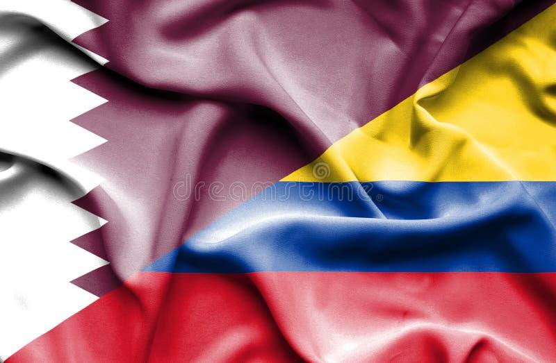 Vinkande flagga av Columbia och Qatar royaltyfri illustrationer