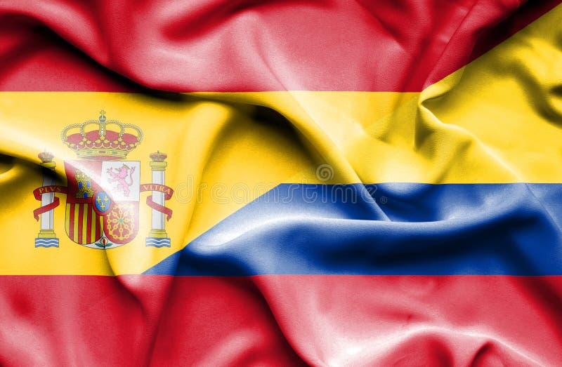 Vinkande flagga av Columbia och Spanien vektor illustrationer