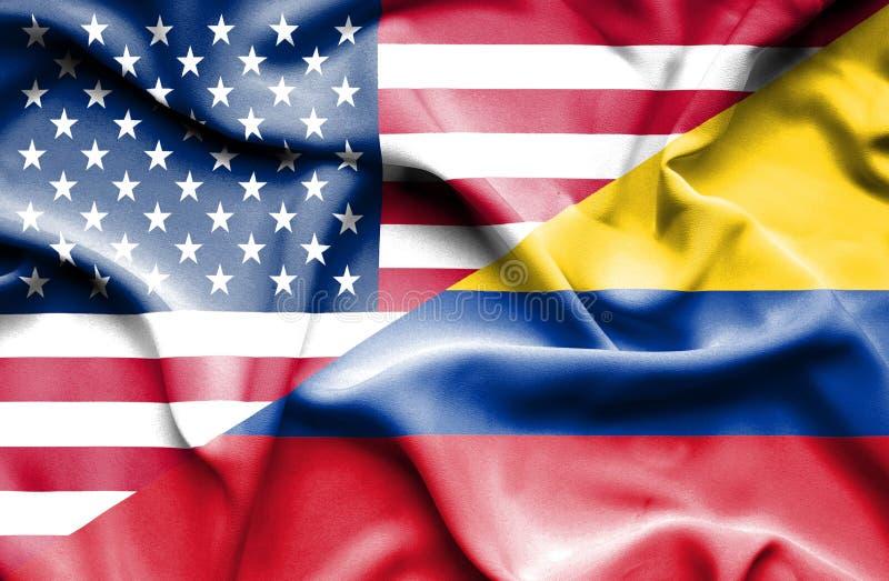 Vinkande flagga av Columbia och USA royaltyfri illustrationer