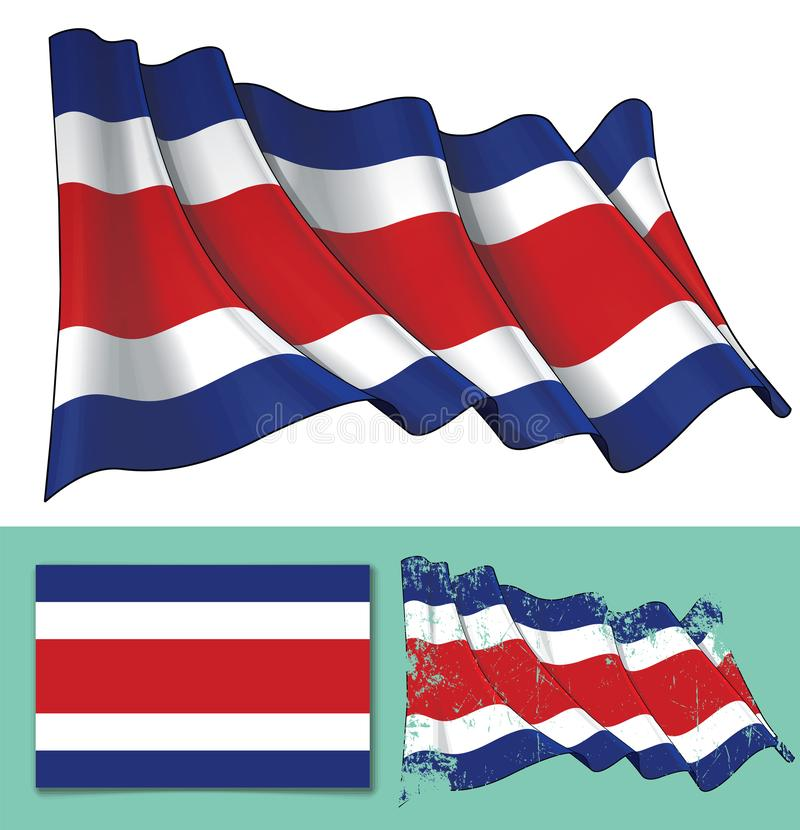 Vinkande flagga av Costa Rica vektor illustrationer