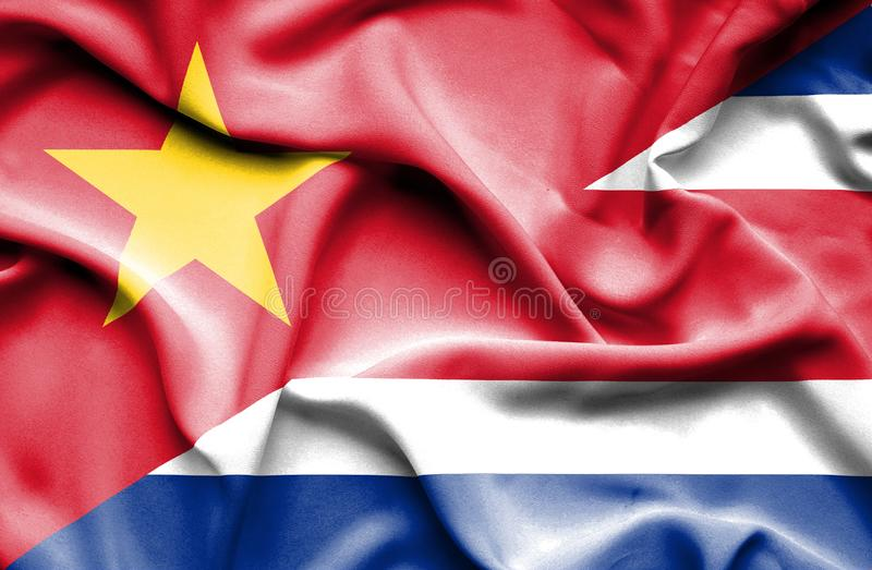 Vinkande flagga av Costa Rica och Vietnam stock illustrationer