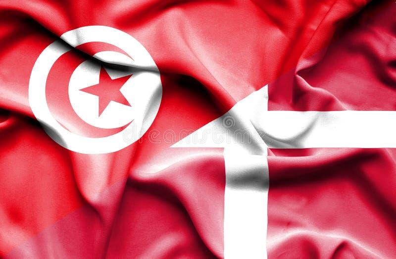 Vinkande flagga av Danmark och Tunisien vektor illustrationer