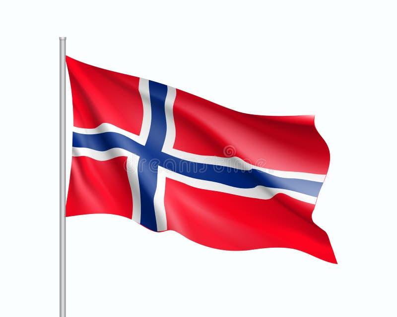 Vinkande flagga av den Norge staten stock illustrationer