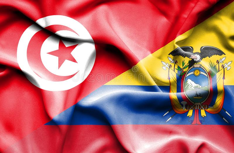 Vinkande flagga av Ecuador och Tunisien royaltyfri illustrationer