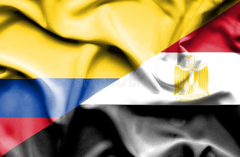 Vinkande flagga av Egypten och Columbia royaltyfri illustrationer
