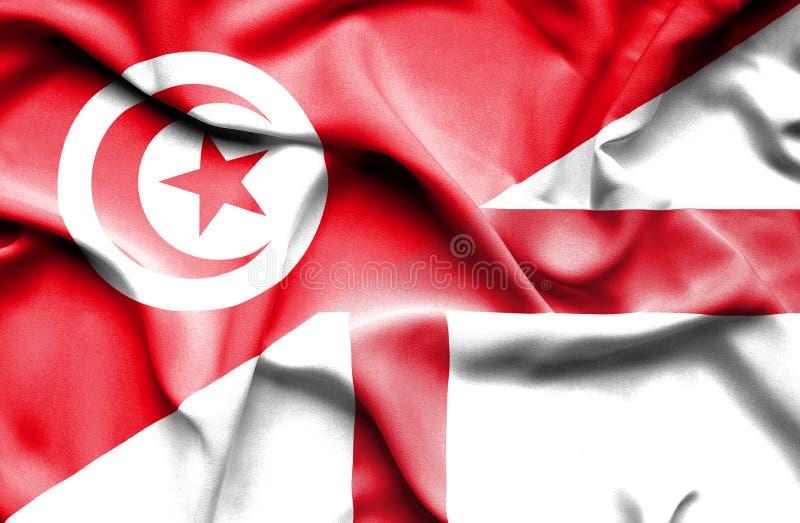 Vinkande flagga av England och Tunisien royaltyfri illustrationer