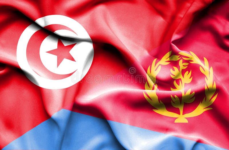 Vinkande flagga av Eritrea och Tunisien stock illustrationer