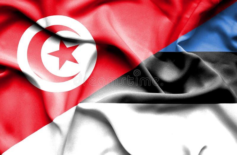 Vinkande flagga av Estland och Tunisien royaltyfri illustrationer