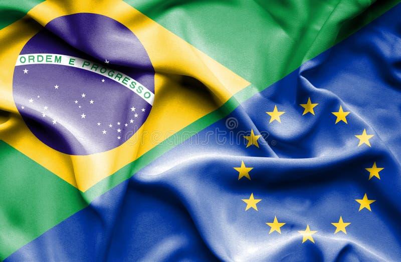 Vinkande flagga av europeisk union och Brasilien vektor illustrationer