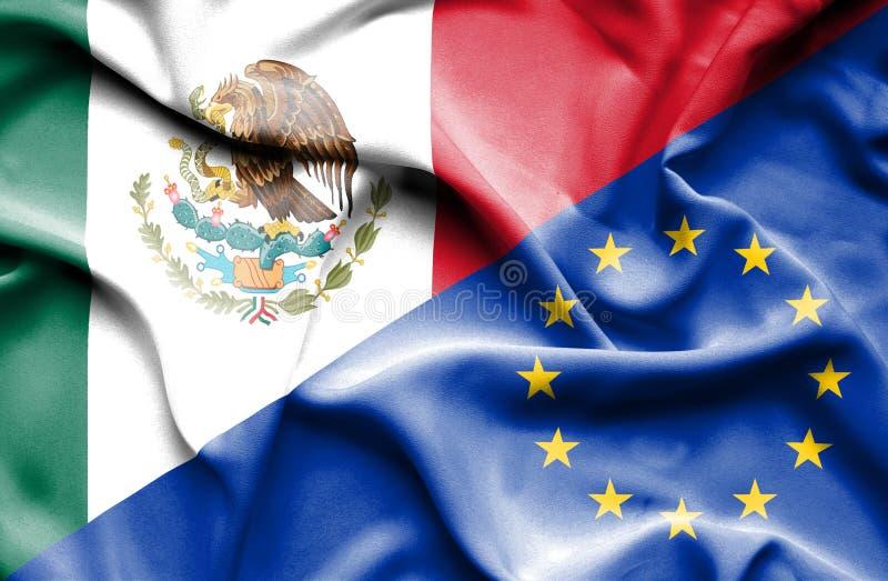 Vinkande flagga av europeisk union och Mexico vektor illustrationer