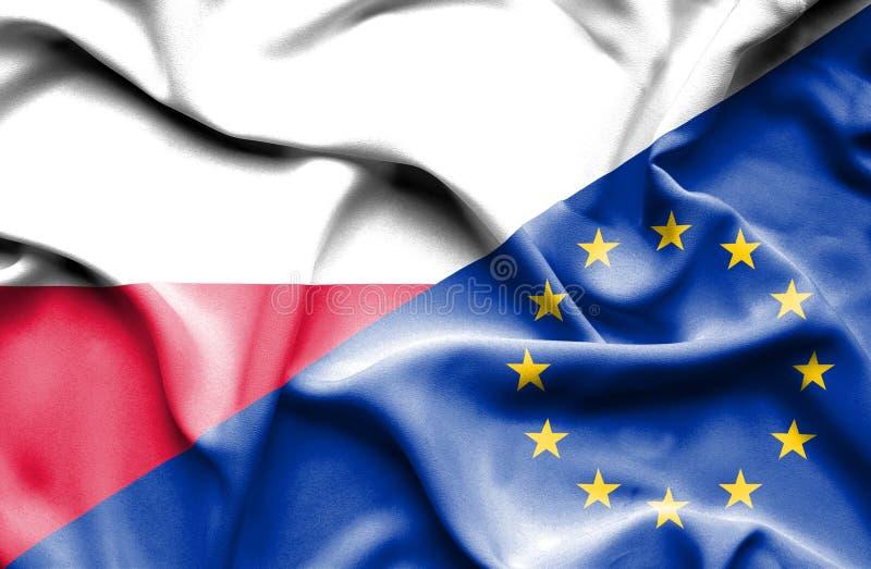 Vinkande flagga av europeisk union och Polen stock illustrationer