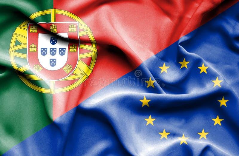 Vinkande flagga av europeisk union och Portugal royaltyfri illustrationer