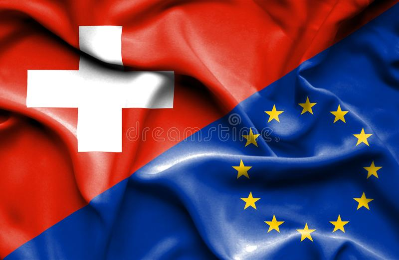 Vinkande flagga av europeisk union och Schweiz royaltyfri illustrationer