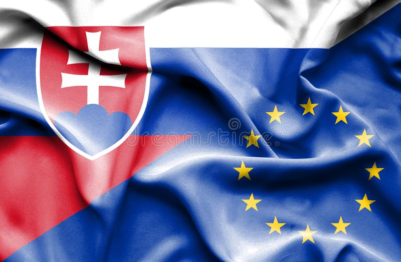 Vinkande flagga av europeisk union och slovakiskt royaltyfri illustrationer