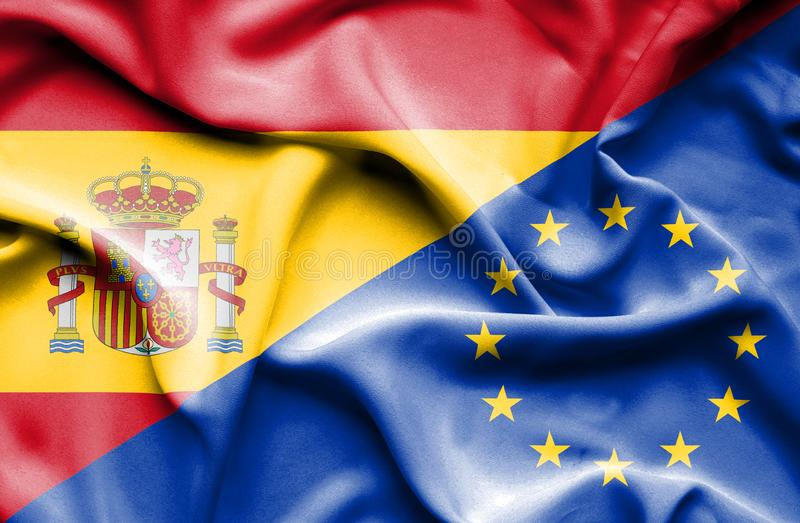 Vinkande flagga av europeisk union och Spanien royaltyfri illustrationer