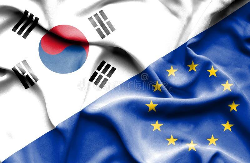 Vinkande flagga av europeisk union och Sydkorea vektor illustrationer