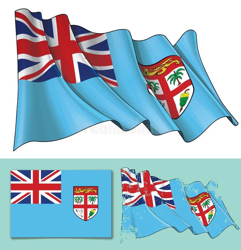 Vinkande flagga av fijianska öar vektor illustrationer