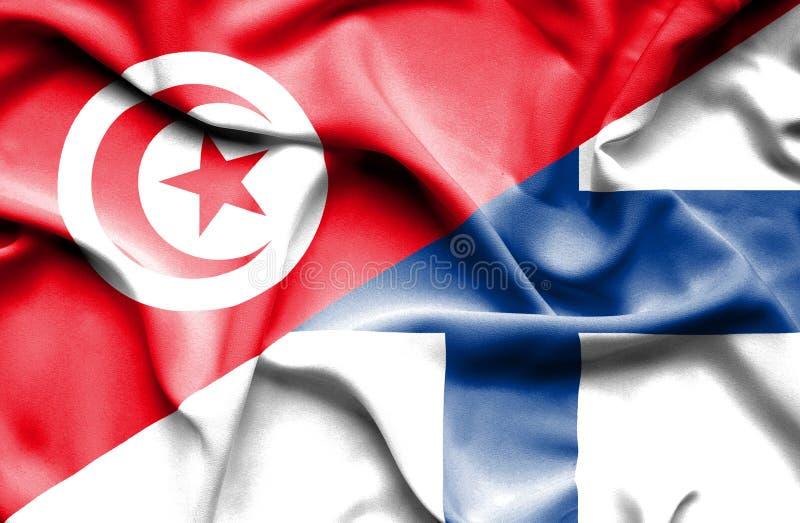 Vinkande flagga av Finland och Tunisien stock illustrationer