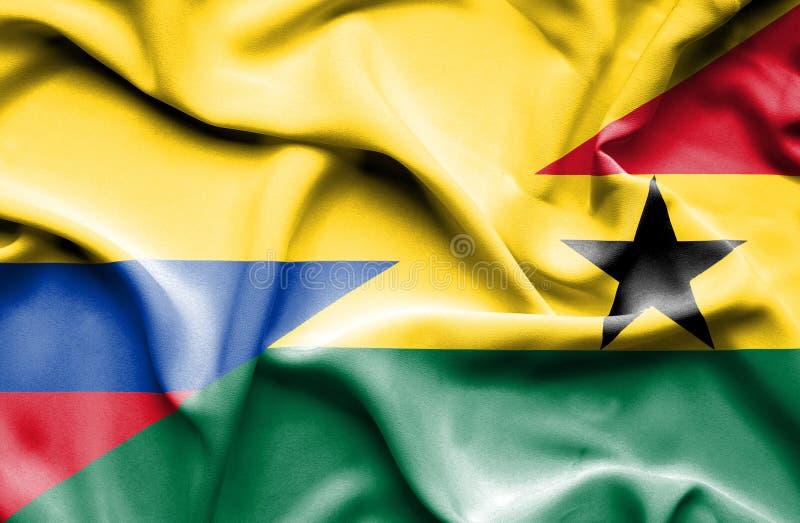 Vinkande flagga av Ghana och Columbia royaltyfri illustrationer