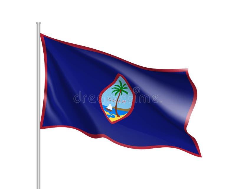 Vinkande flagga av Guam vektor illustrationer