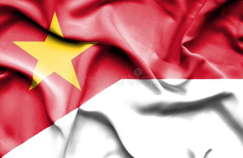 Vinkande flagga av Indonesien och Vietnam stock illustrationer