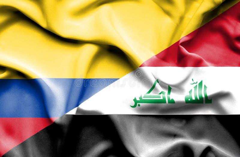 Vinkande flagga av Irak och Columbia vektor illustrationer