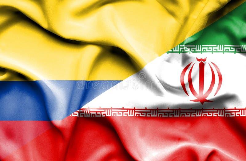 Vinkande flagga av Iran och Columbia stock illustrationer