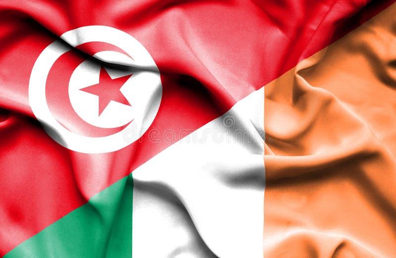 Vinkande flagga av Irland och Tunisien stock illustrationer