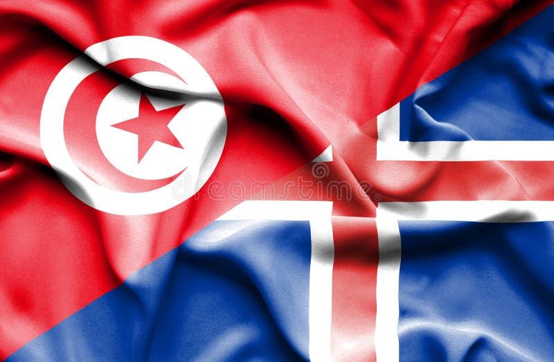 Vinkande flagga av Island och Tunisien stock illustrationer