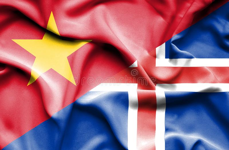 Vinkande flagga av Island och Vietnam stock illustrationer