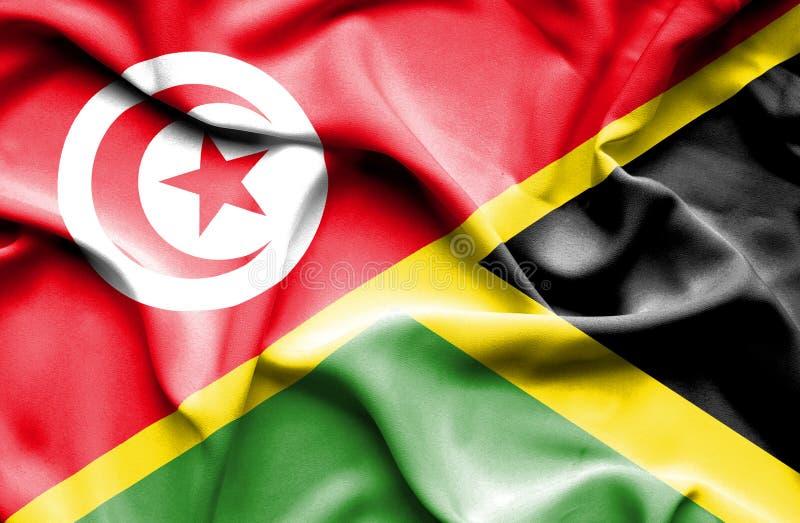 Vinkande flagga av Jamaica och Tunisien royaltyfri illustrationer