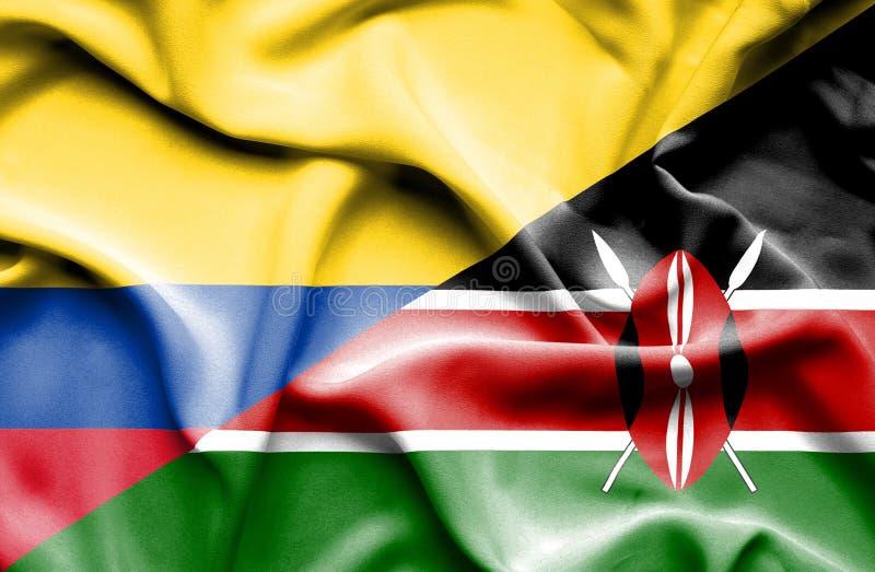 Vinkande flagga av Kenya och Columbia royaltyfri illustrationer