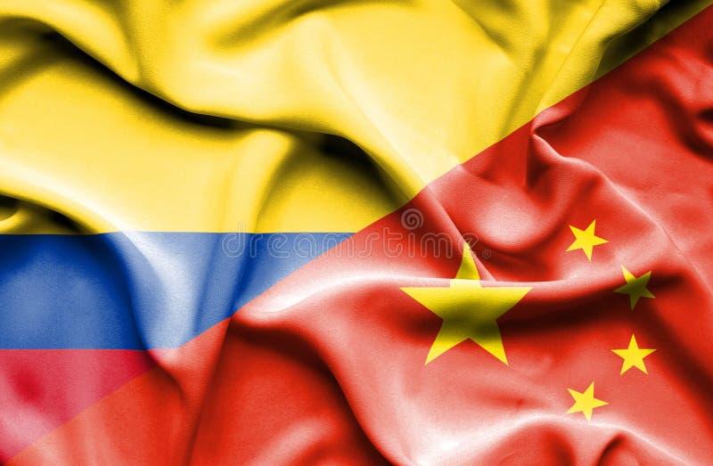 Vinkande flagga av Kina och Columbia vektor illustrationer