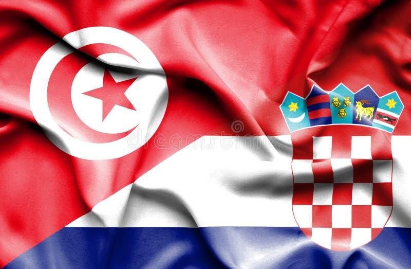 Vinkande flagga av Kroatien och Tunisien stock illustrationer