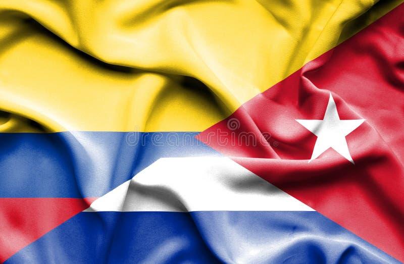 Vinkande flagga av Kuban och Columbia royaltyfri illustrationer
