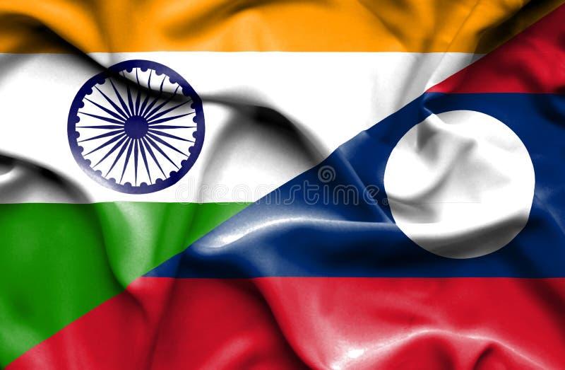 Vinkande flagga av Laos och Indien vektor illustrationer