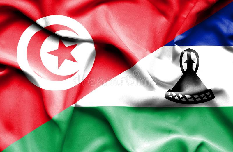 Vinkande flagga av Lesotho och Tunisien vektor illustrationer